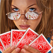 Poker-woman playing cards
