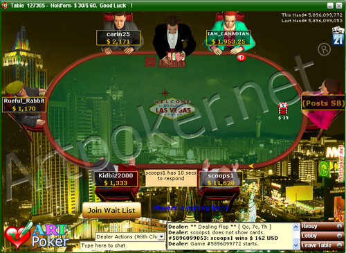 Art Poker - Play Online Poker on Las Vegas Background