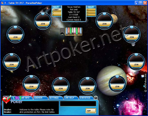 Play Paradise Poker - Space Skin